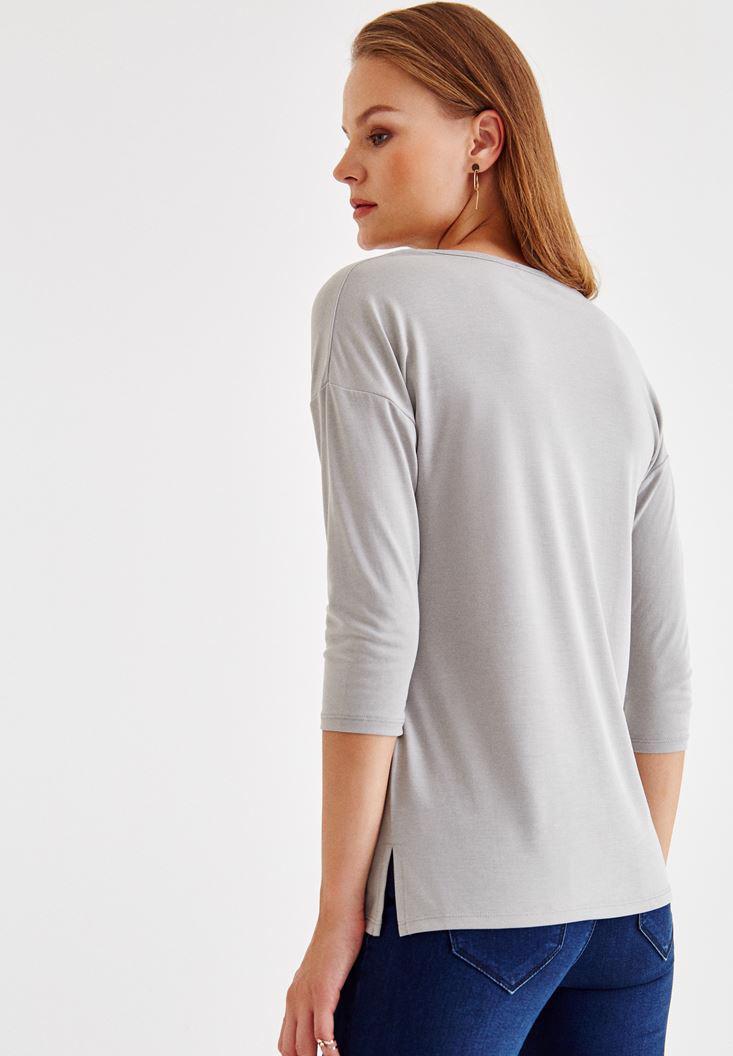 Bayan Gri Çapraz Biye Detaylı Bluz