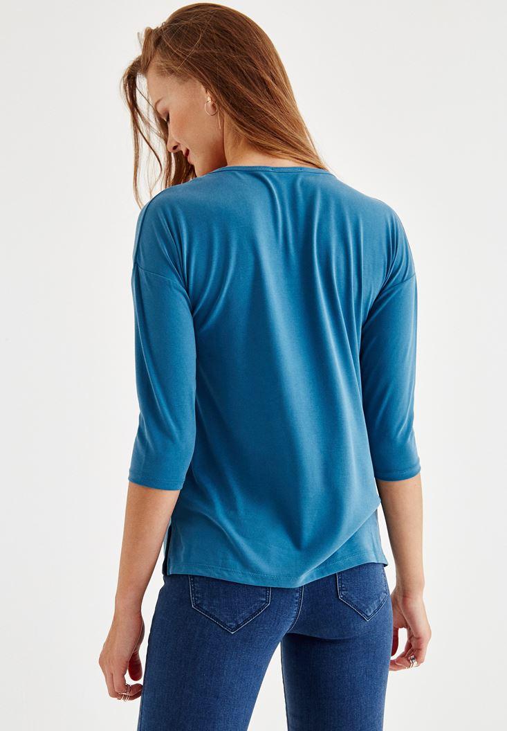 Bayan Mavi Çapraz Biye Detaylı Bluz
