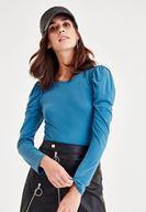 Bayan Mavi Omuzları Fırfır Detaylı Bluz