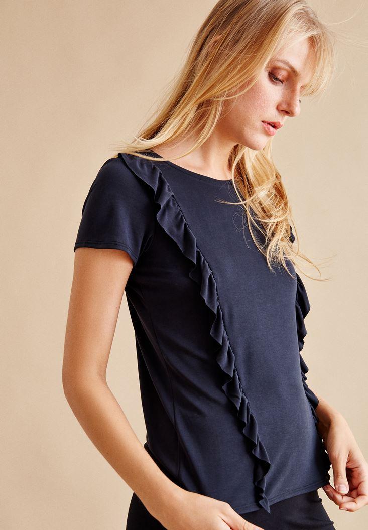 Bayan Siyah Fırfır Detaylı Bluz