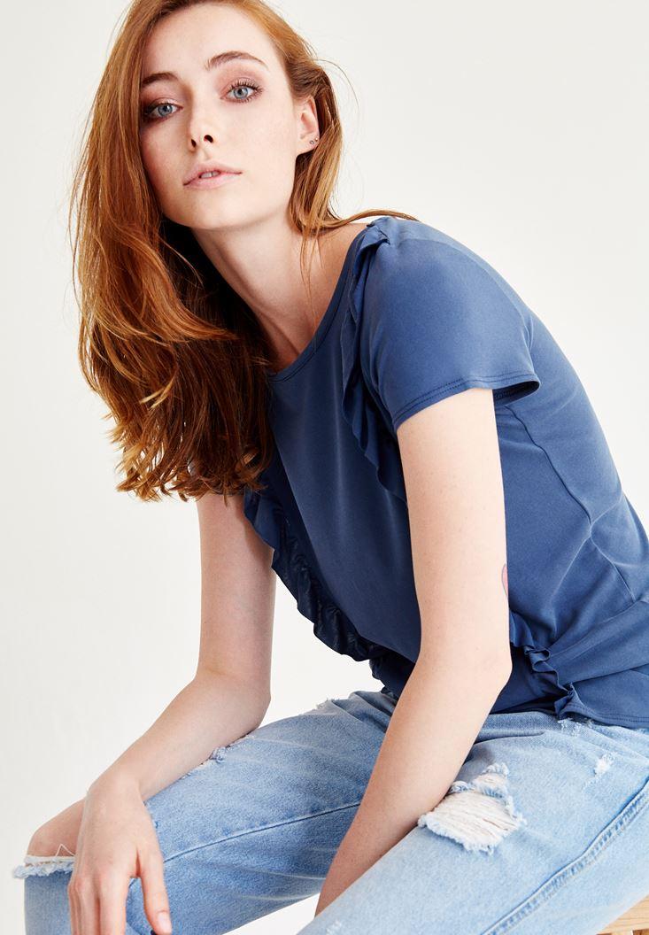 Mavi Fırfır Detaylı Bluz