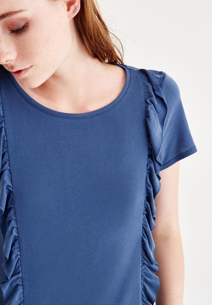 Bayan Mavi Fırfır Detaylı Bluz