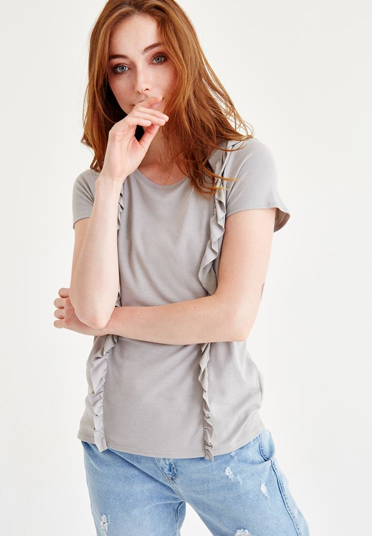 Grey Ruffle Detailed Blouse