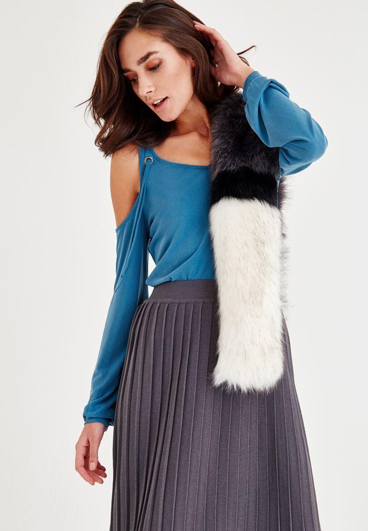 Bayan Mavi Omuz Detaylı Uzun Kollu Bluz