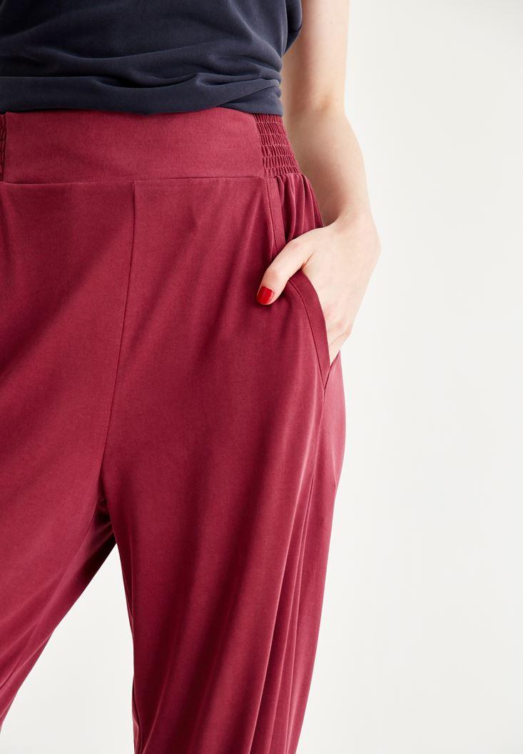 Bayan Bordo Beli Lastikli Pantolon