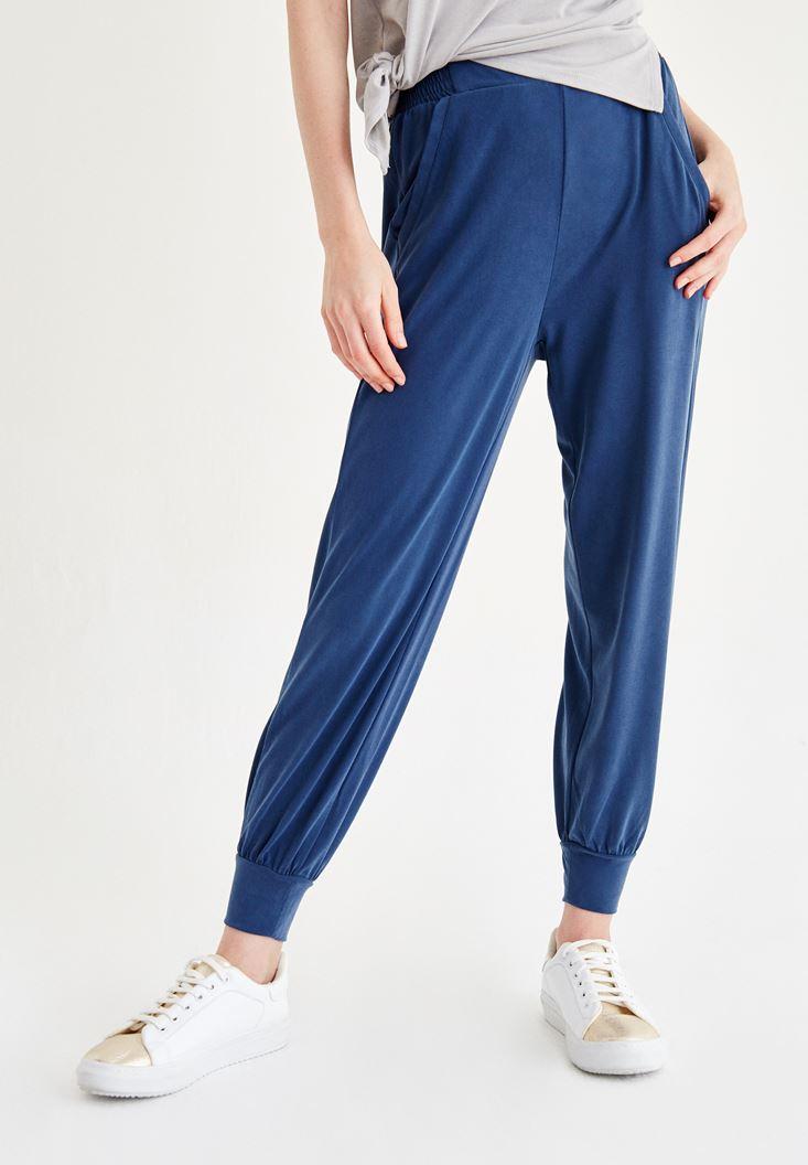 Bayan Mavi Beli Lastikli Pantolon