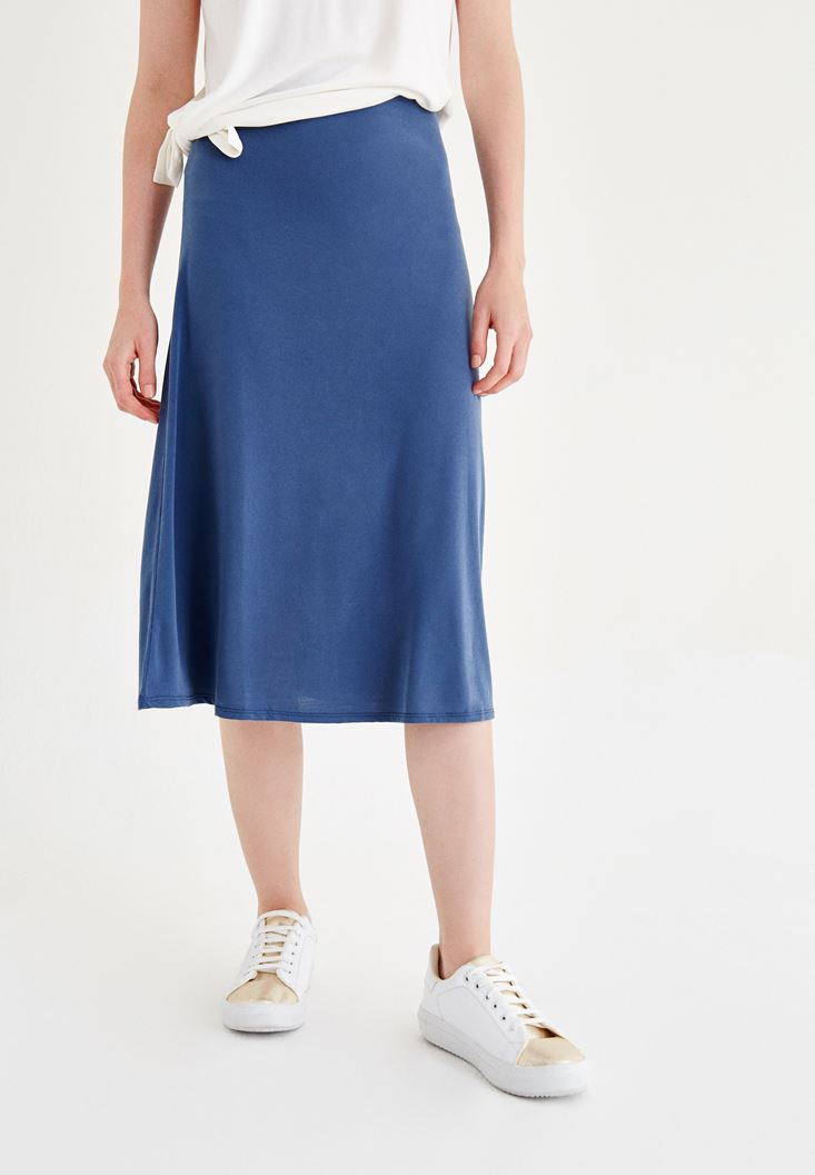 Blue Knee-bottom Skirt