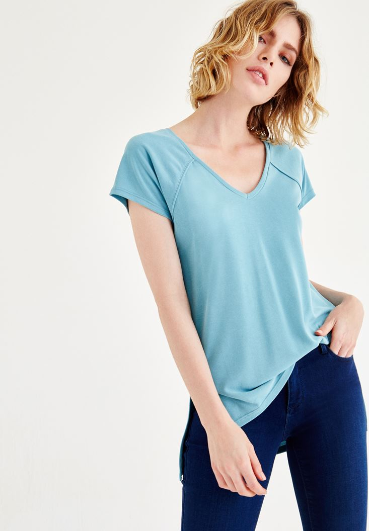 Mavi V Yaka Tişört