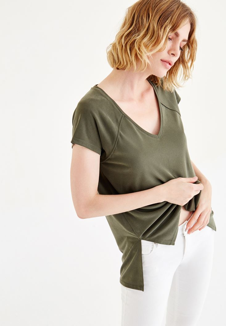 Bayan Yeşil V Yaka Tişört