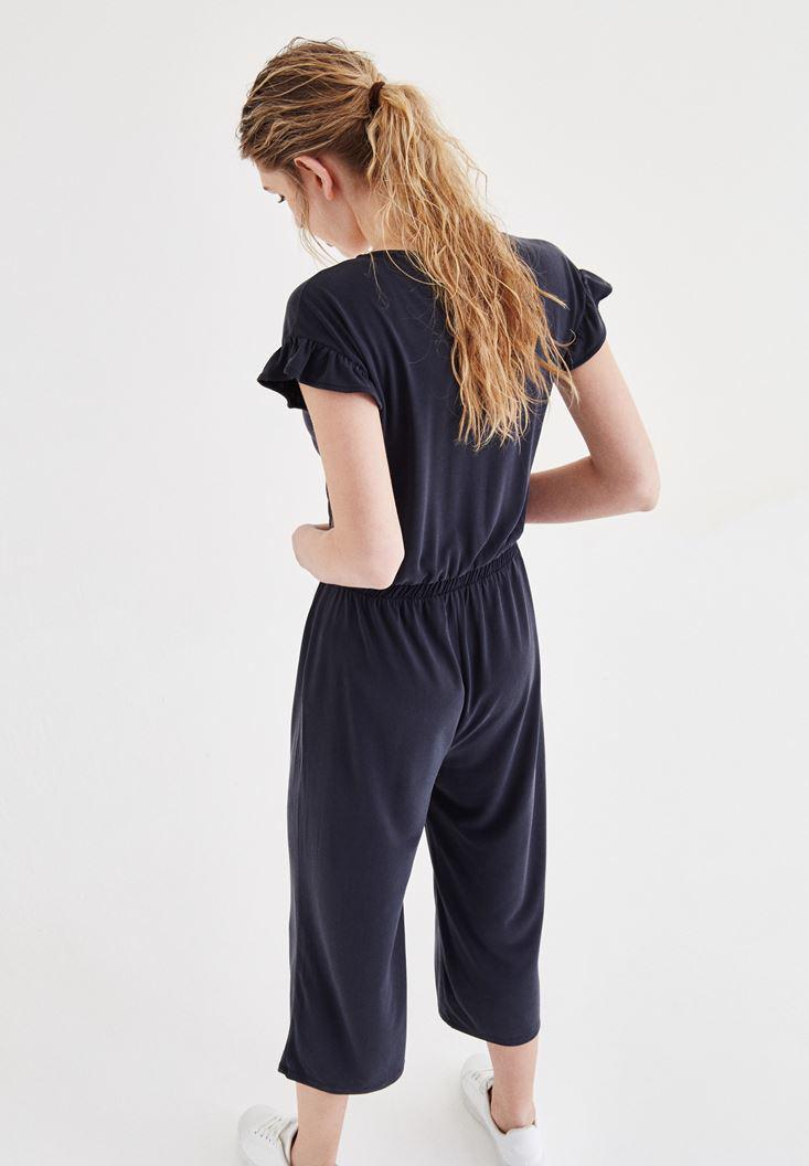 Women Black Arm Detailed Overalls