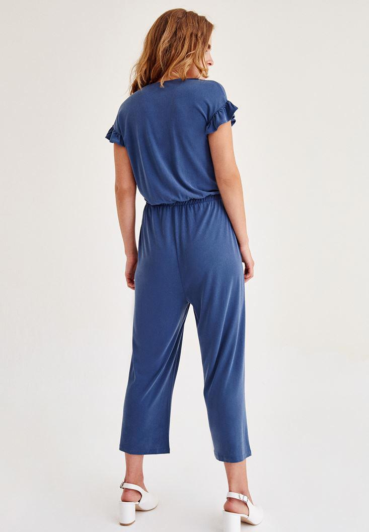 Women Blue Arm Detailed Overalls