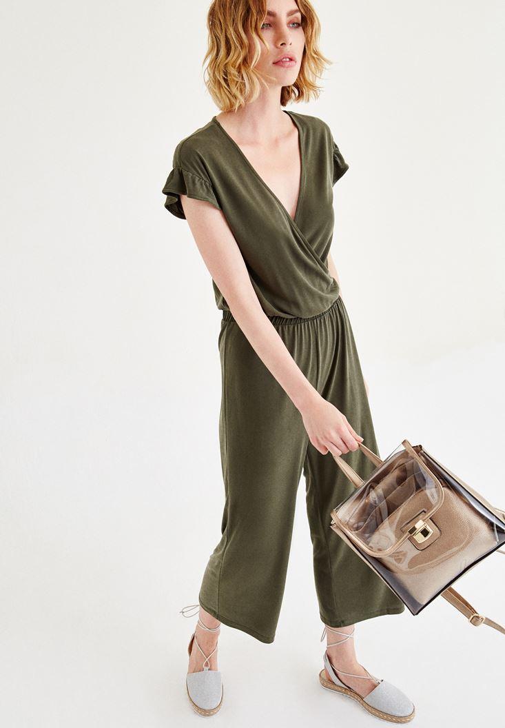 Bayan Yeşil Kol Detaylı Tulum