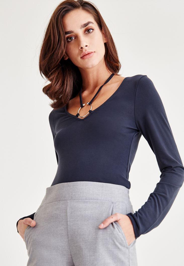 Bayan Siyah Halka Detaylı Uzun Kollu Bluz