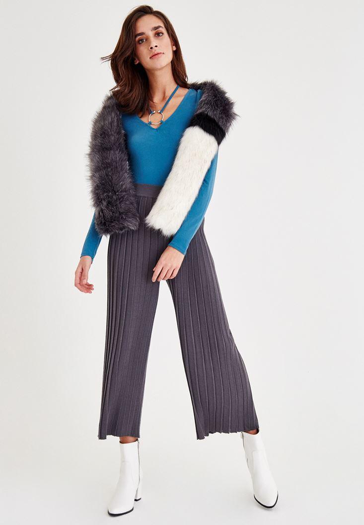 Bayan Mavi Halka Detaylı Uzun Kollu Bluz