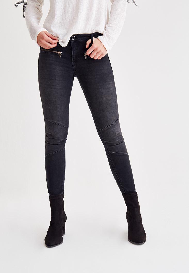 Bayan Siyah Fermuar Detaylı Düşük Bel Dar Paça Pantolon