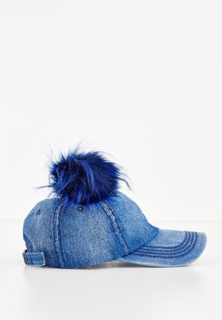 Mavi Ponpon Detaylı Denim Şapka