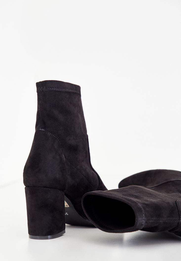 Bayan Siyah Topuklu Bilek Bot