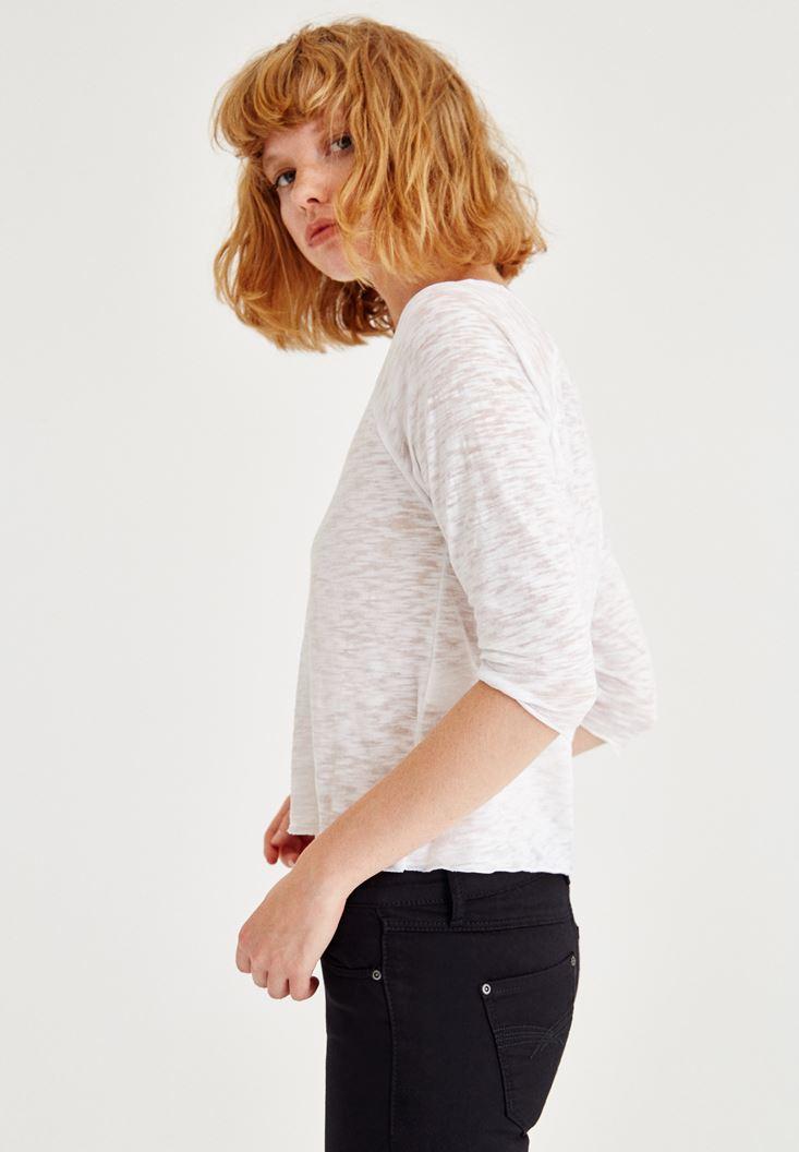 Bayan Beyaz Pamuk Tişört