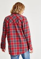 Bayan Kırmızı Ekose Desenli Bol Gömlek