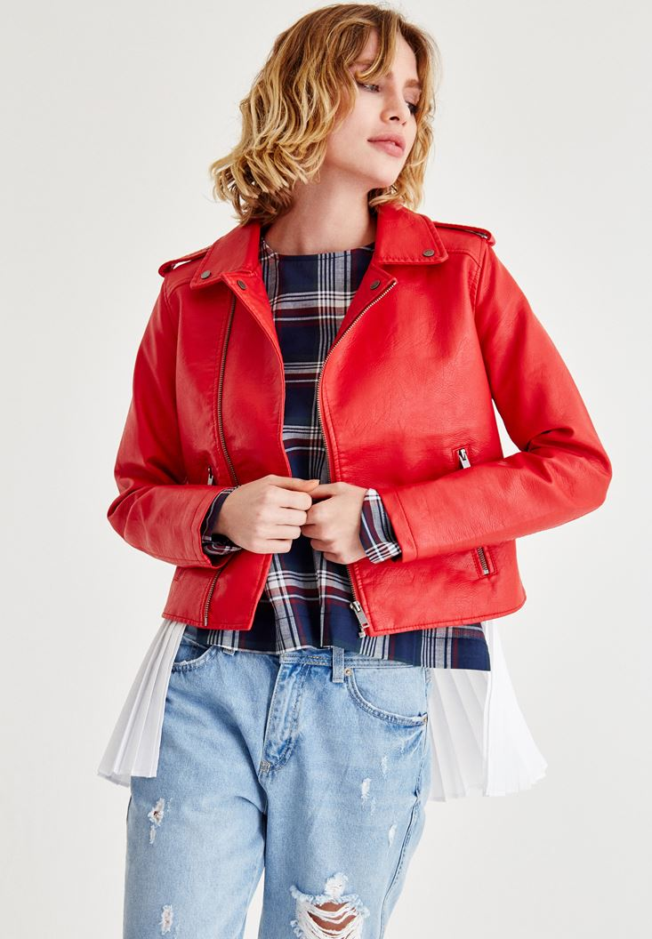 Kırmızı Parlak Biker Deri Ceket