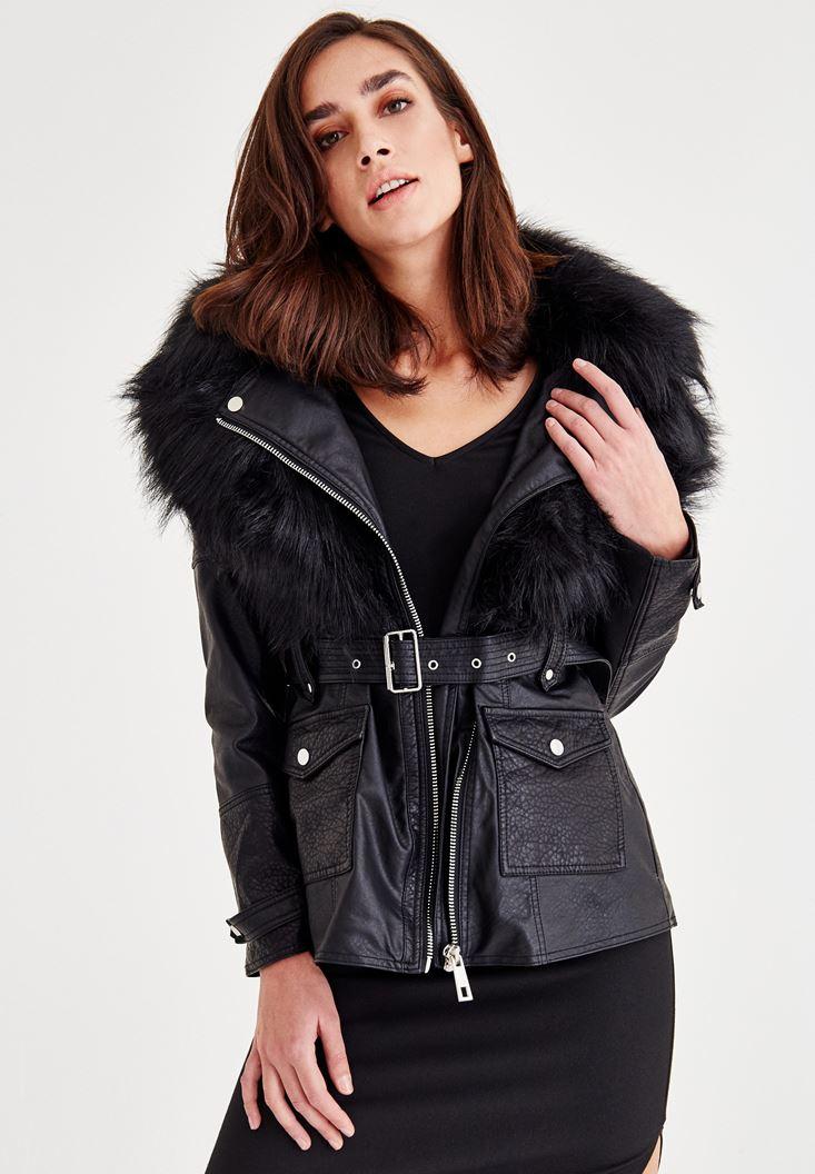 Siyah Suni Kürk Detaylı Ceket