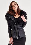 Bayan Siyah Suni Kürk Detaylı Ceket
