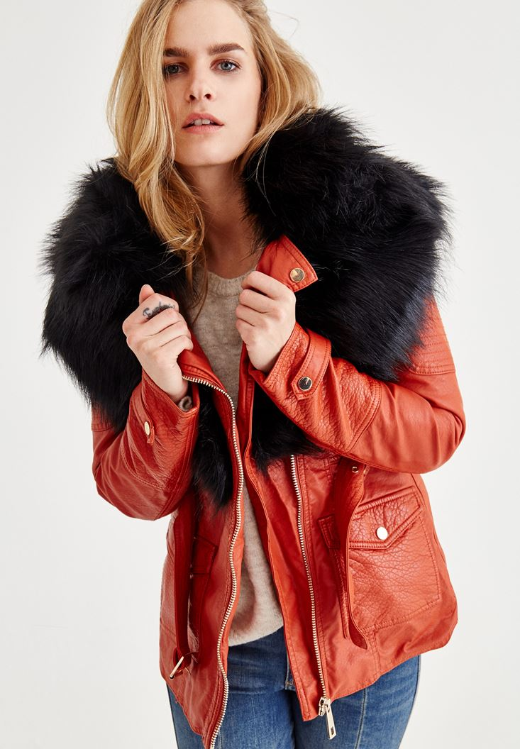 Red Jacket With Fake Fur Detail