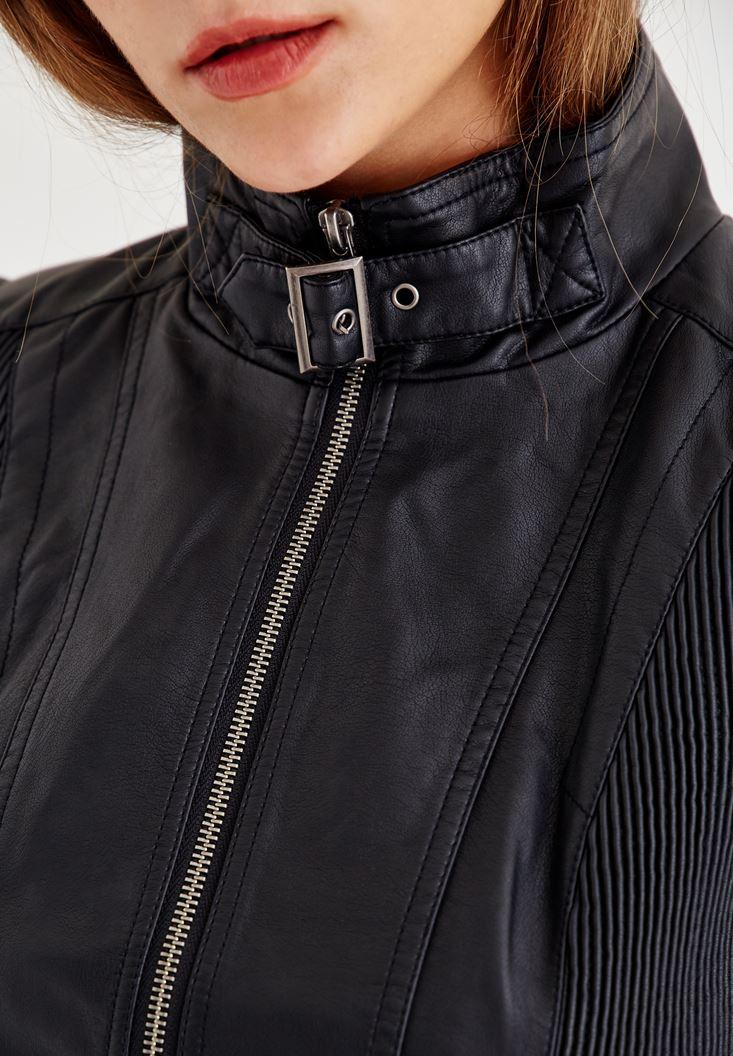 Bayan Siyah Yakası Kemer Detaylı Biker Deri Ceket