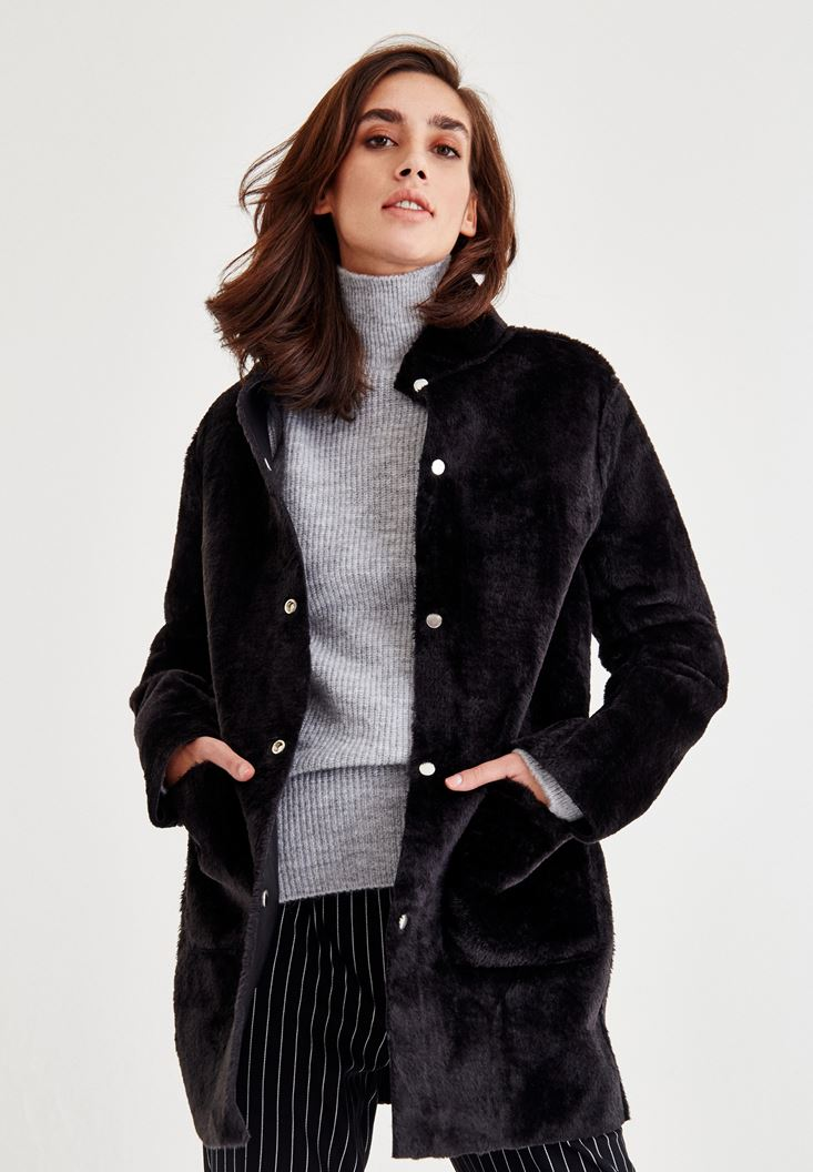 Black Furry Jacket With Double Side