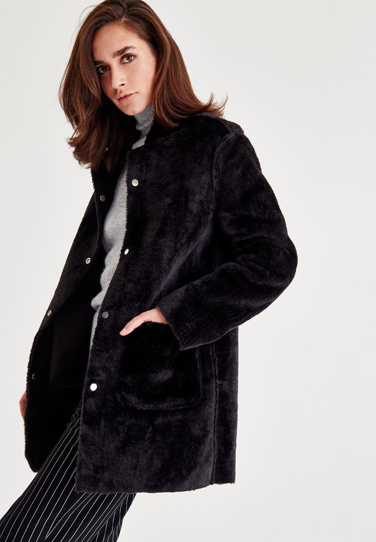 Bayan Siyah Çift Taraflı Tüylü Ceket