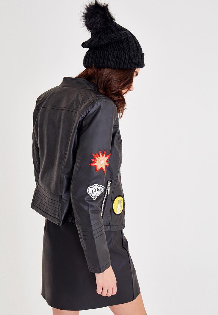 Bayan Siyah Aplike Detaylı Deri Ceket