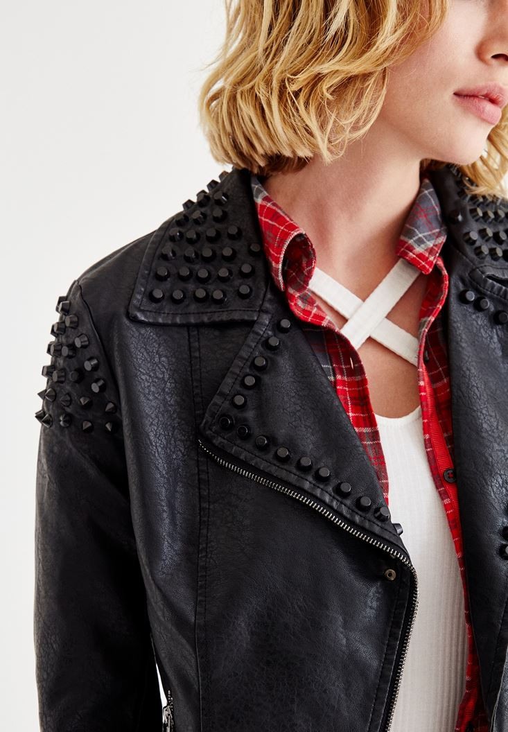 Bayan Siyah Zımba Detaylı Deri Ceket