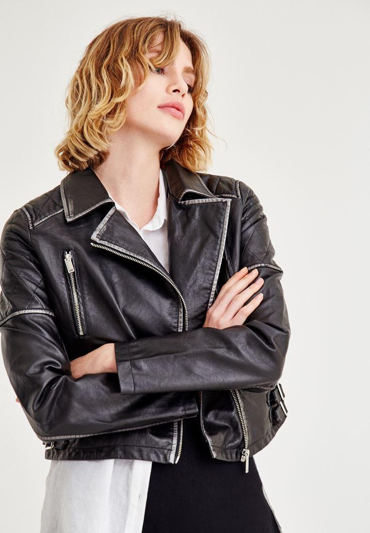 Siyah Gümüş Detaylı Deri Ceket