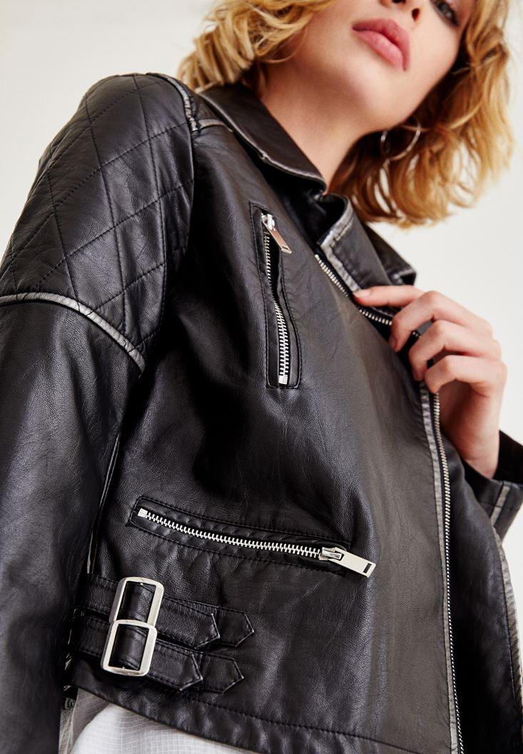 Bayan Siyah Gümüş Detaylı Deri Ceket