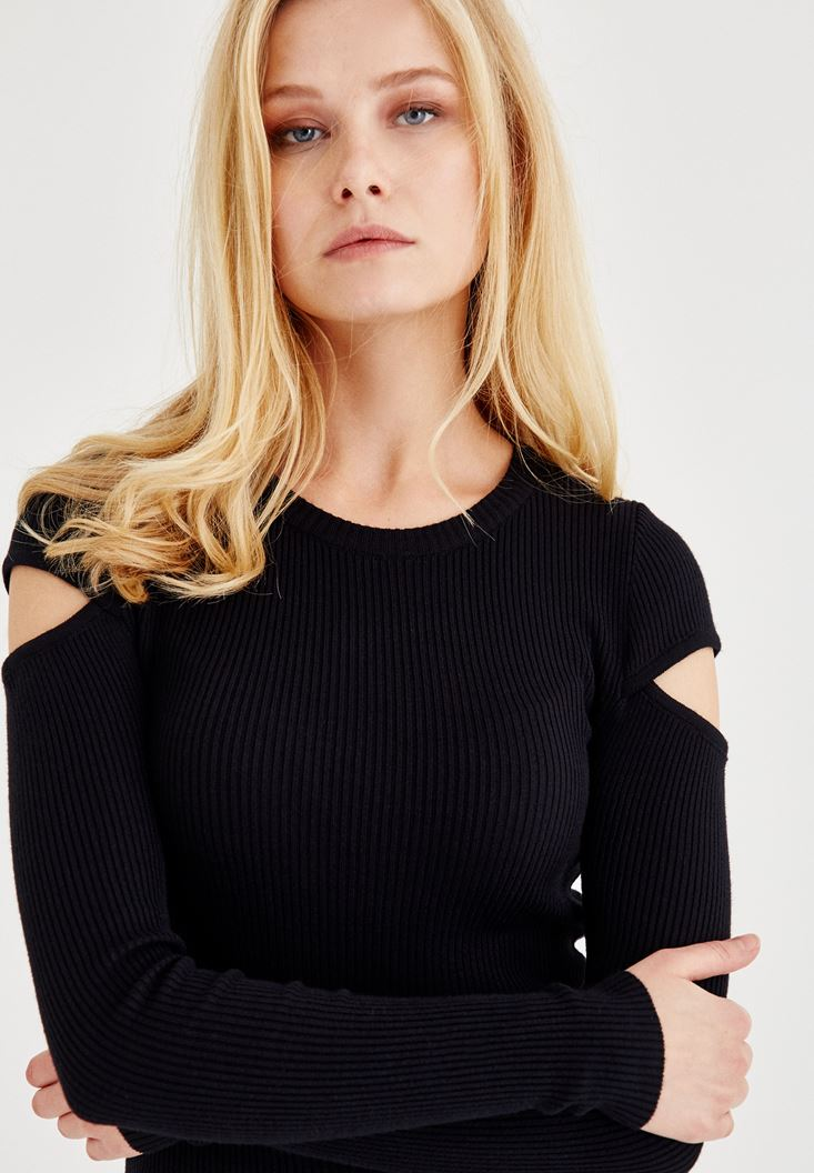 Black Long Sleeve Knitwear With Shoulder Detailed