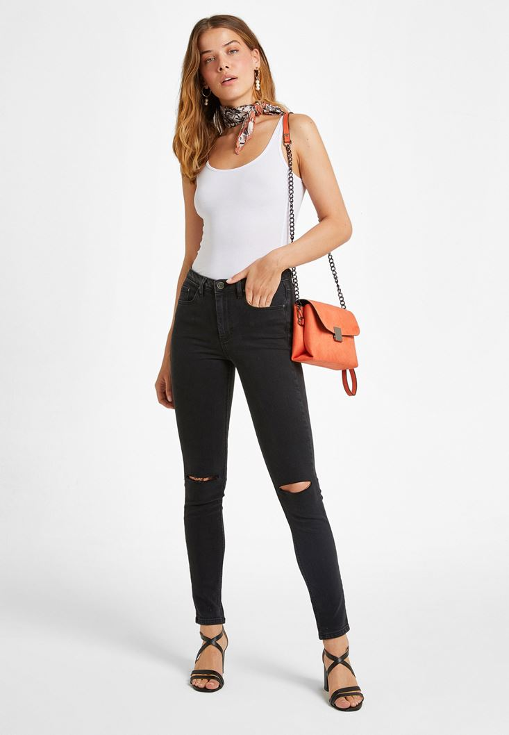 Black Jeans With Knee Detail