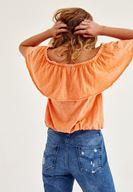 Bayan Turuncu Fırfırlı Düşük Omuz Bluz