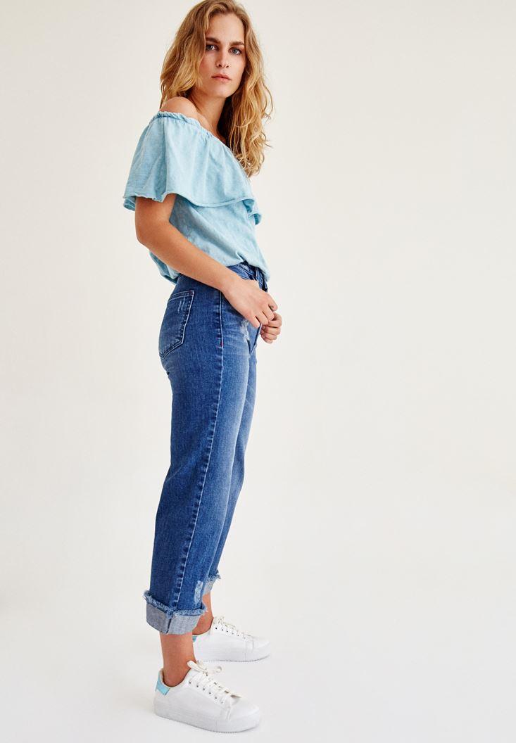 Bayan Mavi Fırfırlı Düşük Omuz Bluz