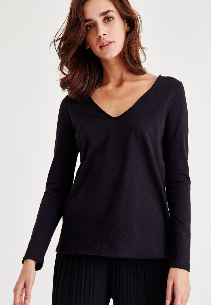 Bayan Siyah Uzun Kollu Pamuklu Tişört