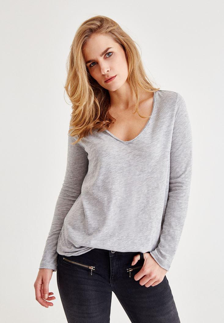 Gri Uzun Kollu Pamuklu Tişört
