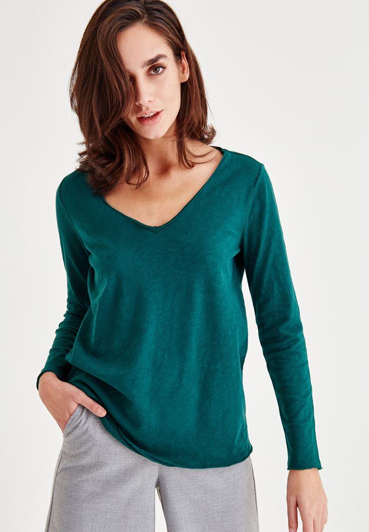 Yeşil Uzun Kollu Pamuklu Tişört