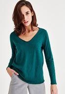 Bayan Yeşil Uzun Kollu Pamuklu Tişört