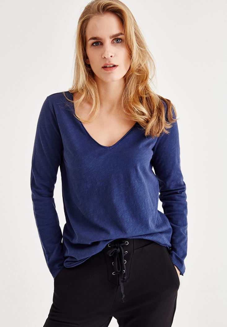 Lacivert Uzun Kollu Pamuklu Tişört