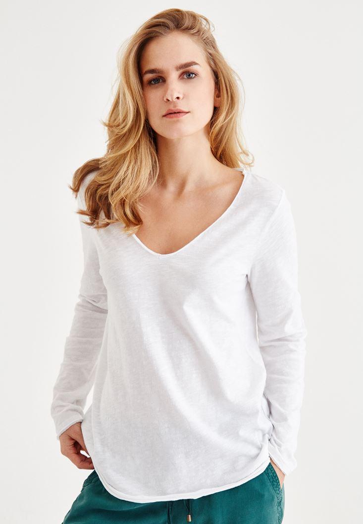 Beyaz Uzun Kollu Pamuklu Tişört
