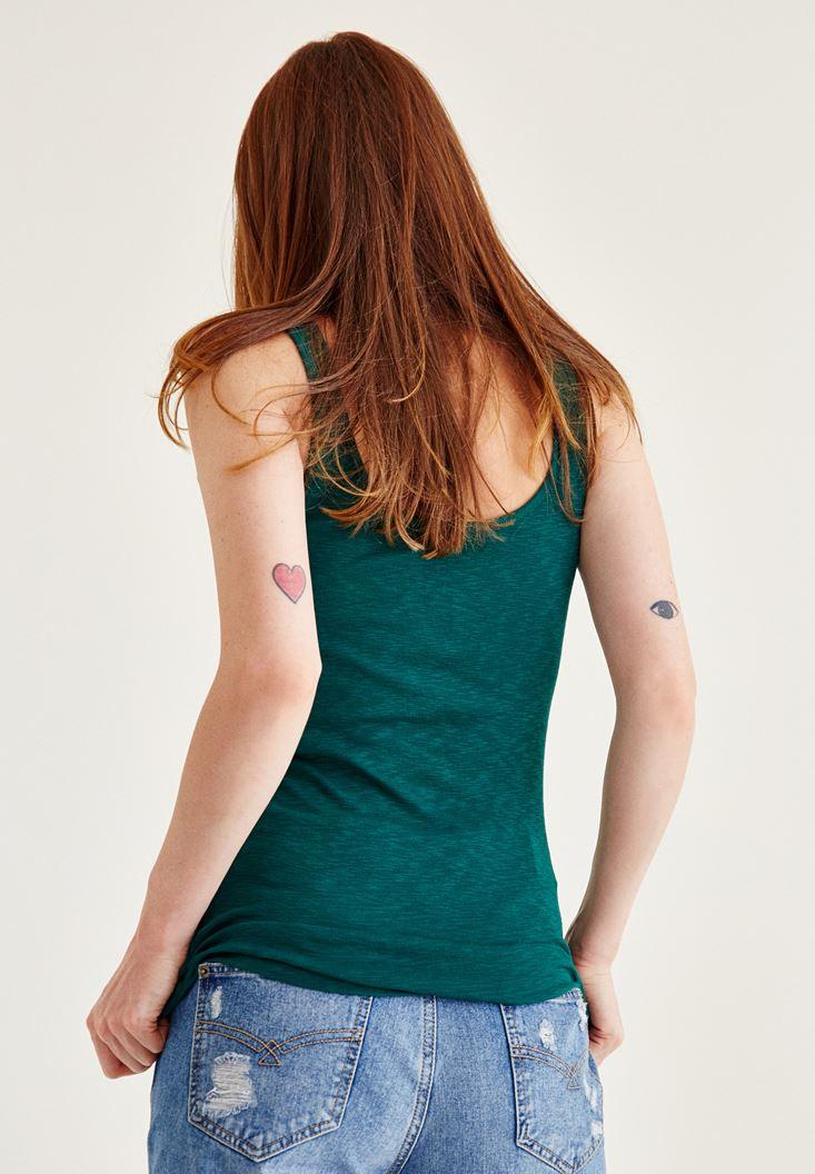 Bayan Yeşil Kalın Askılı U Yaka Atlet