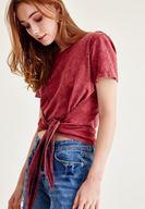 Bayan Bordo Ekose Detaylı Bağlamalı Tişört