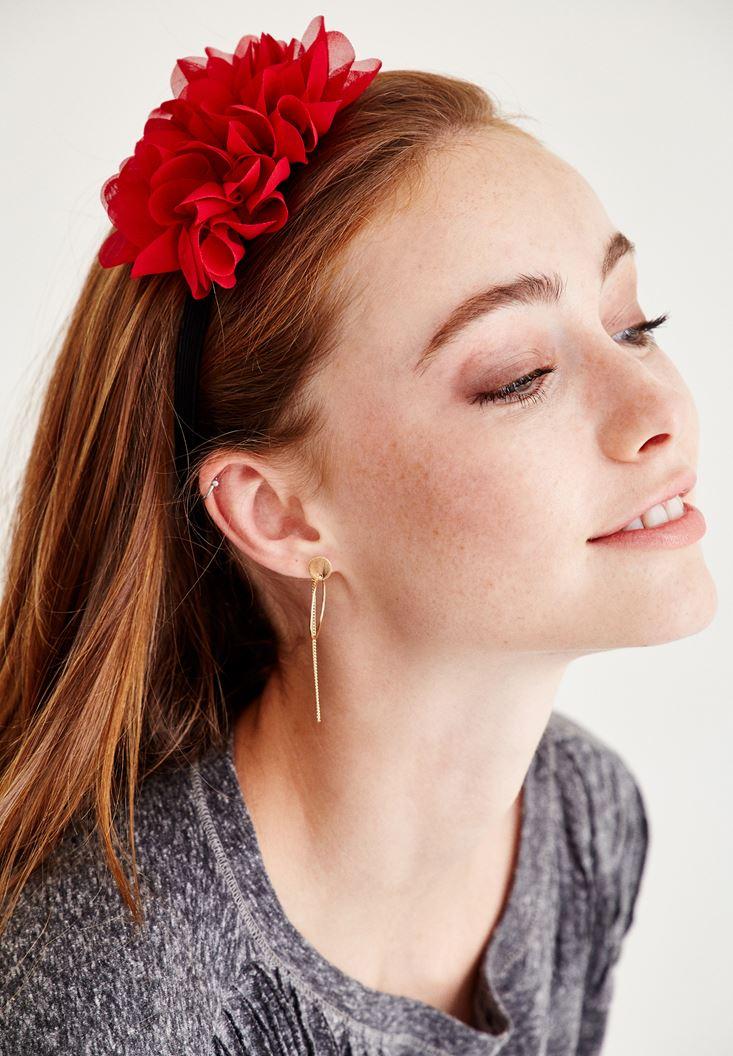 Kırmızı Tek Çiçekli Saç Bandı