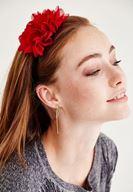 Bayan Kırmızı Tek Çiçekli Saç Bandı