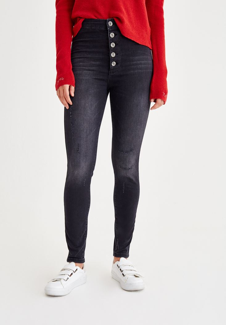 Siyah Çok Düğmeli Dar Paça Denim Pantolon