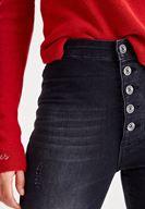 Bayan Siyah Çok Düğmeli Dar Paça Denim Pantolon